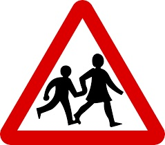 children playing road sign