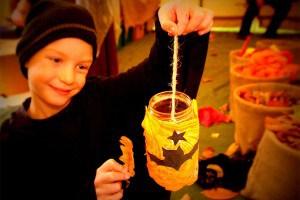 Boy with jam jar lantern