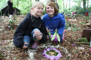 Girls with their Fairy House
