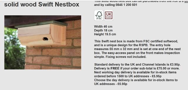 swift nest box rspb