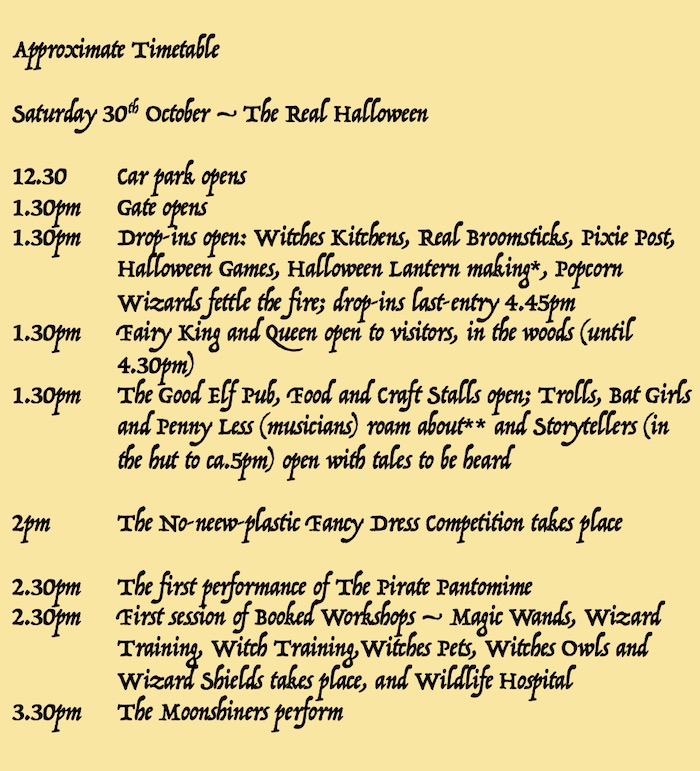 real halloween programme times